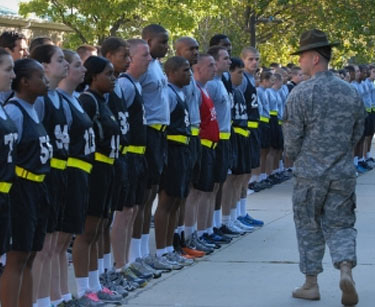 Recruits get briefed before starting the Army Physical Fitness Test by Sgt. 1st Class Kevin McCluskey (Photo by Staff Sgt. Aimee Fujikawa, 29th Mobile Public Affairs Detachment)